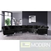 Genovese Modern Black Velvet Circular Sectional Sofa