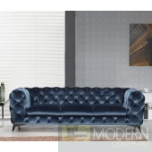 Lourdes Velour Modern Dark Blue Fabric Sofa