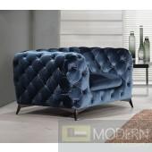 Lourdes Velour Modern Dark Blue Fabric chair