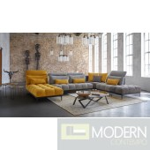 Giordano Italian Modern Grey & Yellow Fabric Modular Sectional Sofa