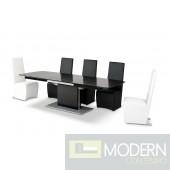A&X Centro Modern Black Crocodile Dining Table