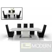 A&X Centro Modern White Crocodile Dining Table