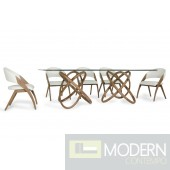 Modern FLUX Glass & Walnut Dining Table