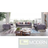 Capri Grey velvet sofa set