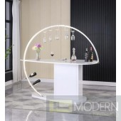 Piccadily White Gloss Bar Table With Bottle Racks