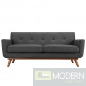 Engage Fabric Loveseat Dark Grey