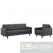 Mid Century Modern Empress Dark Gray fabric Armchair, Sofa & Ottoman Set