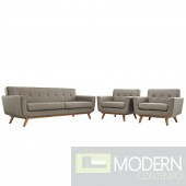 3Pc Engage Upholstered Sofa & 2 chairs Granite