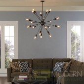 BEAM SPUTNIK STAINLESS STEEL CHANDELIER IN BLACK