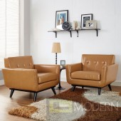Set of 2 Tan Engage Leather Armchair