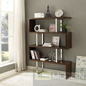 "Walnut Meander 66"" Accent Shelves Bookcase"