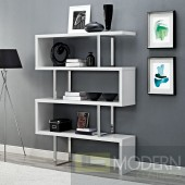 "White Meander 66"" Accent Shelves Bookcase"
