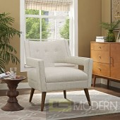 Ivory Sheer fabric upholstered Lounge chair