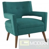 Teal Sheer fabric upholstered Lounge chair