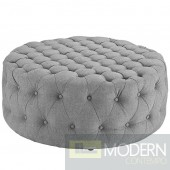 Amour Tufted fabric Ottoman Grey