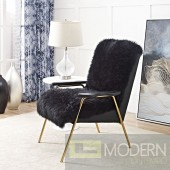 Chara Sheepskin Chair with gold accents  - Black