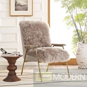 Chara Sheepskin Chair with gold accents Brown
