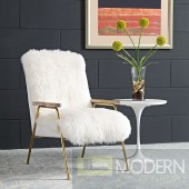 Chara Sheepskin Chair with gold accents White