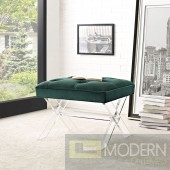 Green Velvet Paris Bench with Acrylic legs