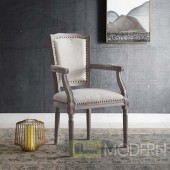 Penchant Vintage French upholstered fabric dining armchair beige