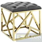 Mezzare Velvet tufted ottoman in Gold