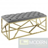 Mezzare Velvet tufted Bench in Gold