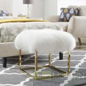 Sheepskin ottoman on Gold legs
