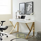Modern Celebrity Office Desk in White Gold