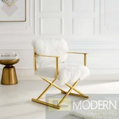 Marina Pure White Cashmere Accent Director's Chair in Gold White
