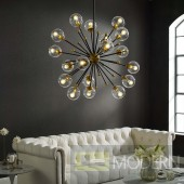 Amberly Clear Glass and Brass Ceiling Light Pendant Chandelier