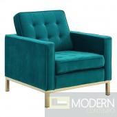 Ginerva Gold Stainless Steel Performance Velvet Armchair