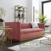 Fontanelle VERTICAL CHANNEL TUFTED PERFORMANCE VELVET SOFA DUSTY ROSE