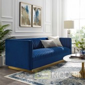 Fontanelle VERTICAL CHANNEL TUFTED PERFORMANCE VELVET SOFA NAVY