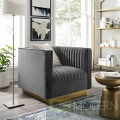 Fontanelle Vertical channel tufted perfomance velvet chair grey