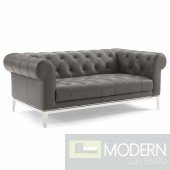 Cyprus Tufted Button Upholstered Leather Chesterfield Loveseat Gray