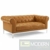 Cyprus Tufted Button Upholstered Leather Chesterfield Loveseat TAN