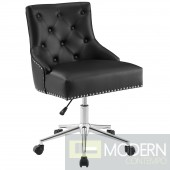 Prime Tufted Button Swivel Faux Leather Office Chair in Black