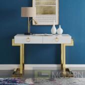Aveline Office Desk in Gold White