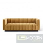 Surreal Channel Tufted Velvet Sofa COGNAC