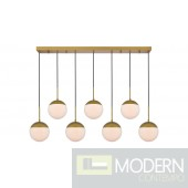 Solar 7 Lights Brass Pendant With Frosted White Glass