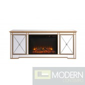 """60"""" Georgina Mirrored TV Stand with Wood Fireplace in Antique Gold"""