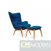 Huggy mid century chair and ottoman - Blue