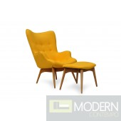 Huggy mid century chair and ottoman - Yellow