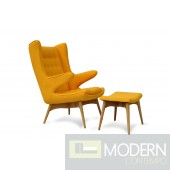 Moderno Mid-Century Chair and Ottoman - Yellow