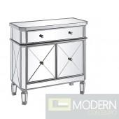 Omni Mirrored 2 Door Cabinet Silver