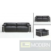 F58 Modern Black Sofa Set with SS trim