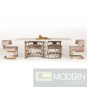 Modrest Angelo Modern White Concrete & Antique Brass Dining Table