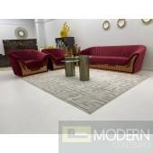 3Pc Marquees High Performance Luxury Scarlet Velvet Sofa