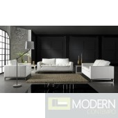 Manhattan Modern White Leather Sofa Set