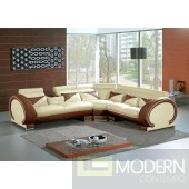 Divani Casa 7392 - Modern Beige&Brown Leather Sectional Sofa